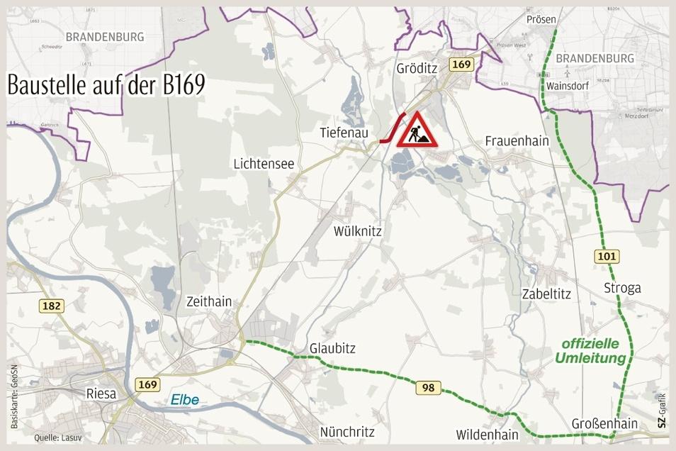 So verläuft die offizielle Umleitung für die Straßenbaustelle zwischen Gröditz und Tiefenau.