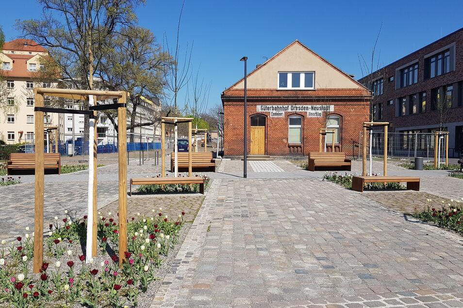 Ein Teil des neuen Parks an der Gehestraße in Pieschen ist bereits fertig.