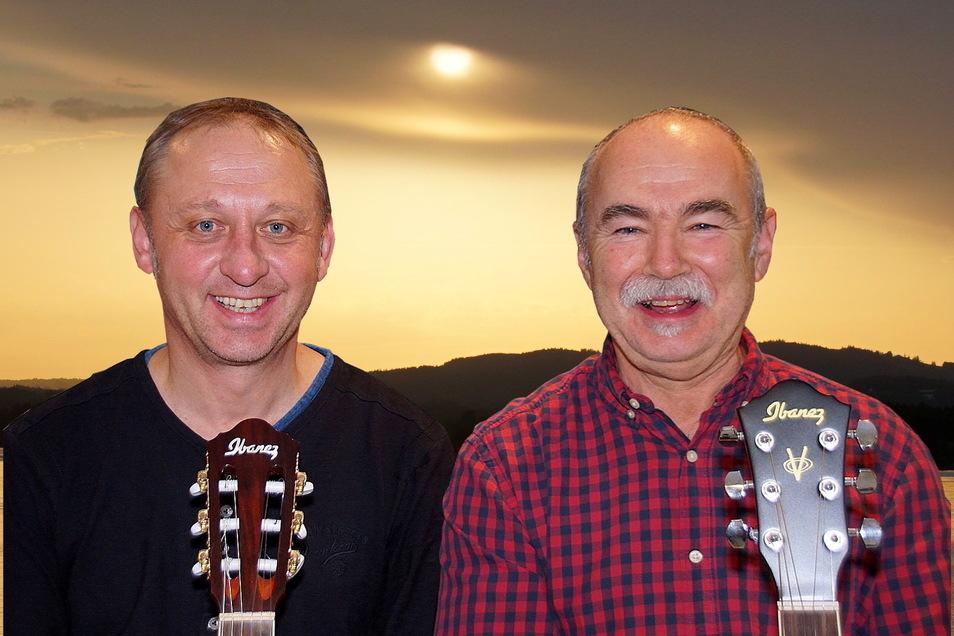 Jens Opitz und Peter Schubert gehören zu den Musikern, die am 18. September auf dem Pirnaer Markt auftreten.