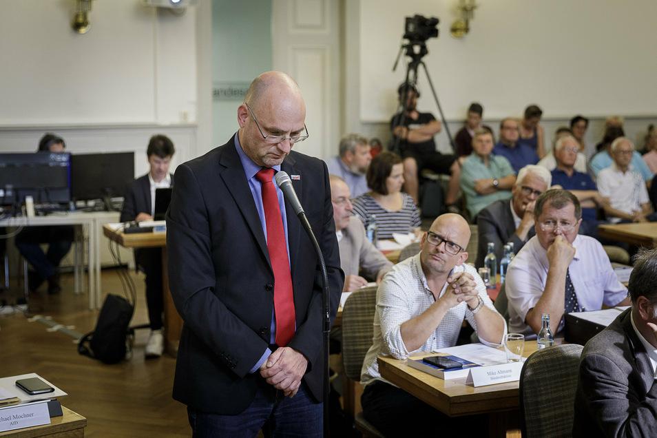Lutz Jankus, Fraktionsvorsitzender der AfD, bei der konstituierenden Sitzung des Görlitzer Stadtrates im August 2019.