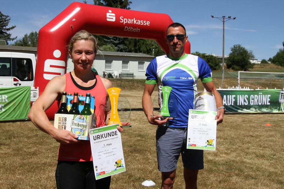 Annett Naumann (RLSG Leisnig) und Christian Schubert (TSV 92 Freiberg) waren die Gesamtsieger über 14 Kilometer.