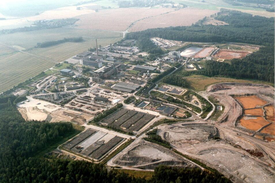 Ein Bergbaugigant: Das Hauptbetriebsgelände der Wismut im Königsteiner Ortsteil Leupoldishain kurz nach der Wende im Sommer 1991.