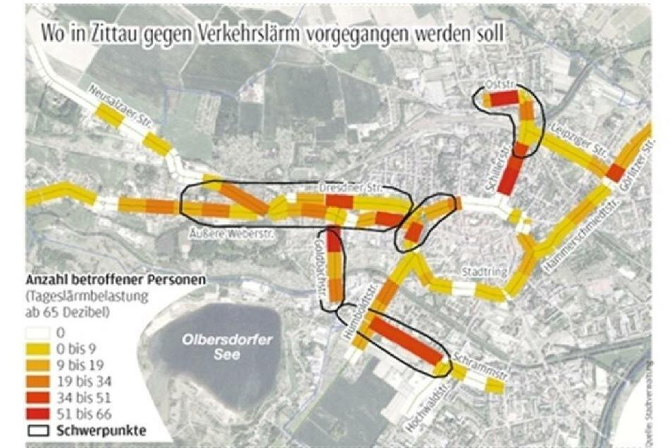 Das sind die von Lärm betroffenen Straßen in Zittau. gegen den Lärm wollte die Stadt vorgehen.
