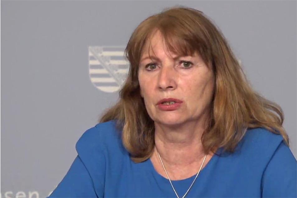 Sachsens Gesundheitsministerin Petra Köpping am Dienstag bei der Kabinetts-Pressekonferenz.