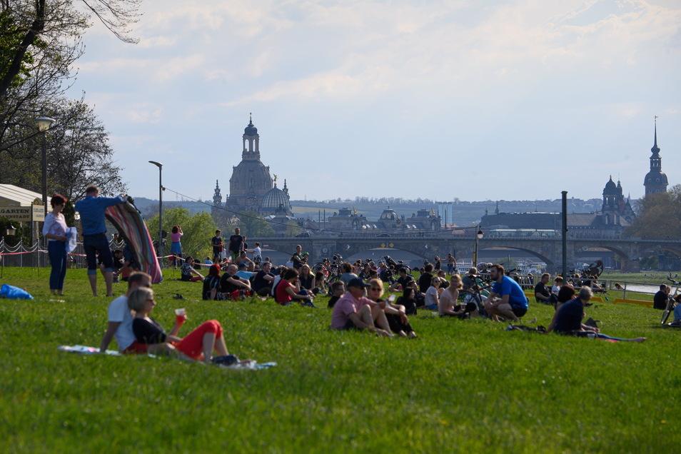 Menschen sitzen am Abend auf einer Wiese an der Elbe in Dresden vor einem Biergarten, im Hintergrund ist die Frauenkirche zu sehen.
