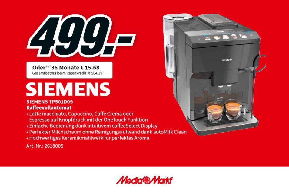 Der Siemens Kaffeevollautomat TP501D09 für nur 499€