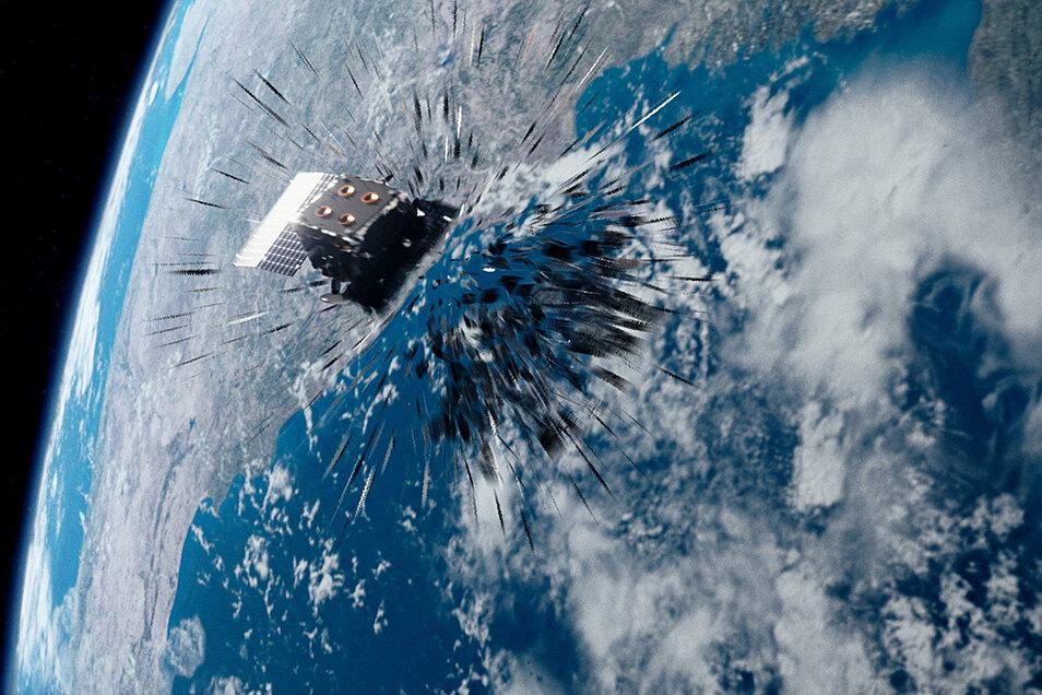 """Crash im All. Was hier die Grafik zeigt, das ist bereits Realität. Der Kurzfilm """"Time to Act"""" warnt vor der zunehmenden Gefahr durch Weltraumschrott."""