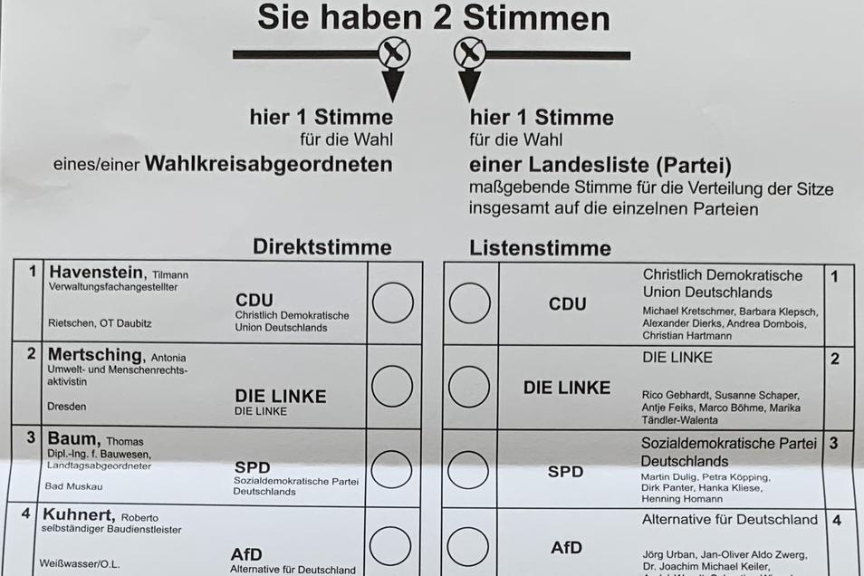 ... und hier Wahlkreis 58 mit Görlitz, Reichenbach und umliegenden Dörfern. Allerdings sind die Stimmzettel noch viel länger: Insgesamt 19 Parteien und Wählervereine treten an.