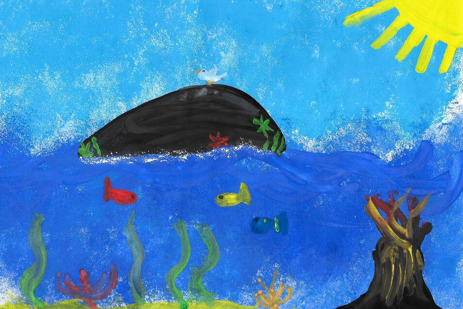 """""""Ich würde gern Urlaub auf einer kleinen Insel machen. Ein unterirdischer Vulkan wärmt das Meerwasser. Es gibt keinen Müll und viele Tiere"""", sagt Maria-Magdalena Pampel (10) zu ihrem Bild """"In meinen Träumen""""."""