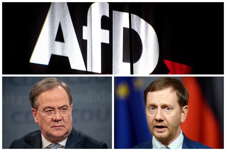CDU-Chef Armin Laschet und Sachsens Ministerpräsident Michael Kretschmer distanzieren sich deutlich von der AfD.