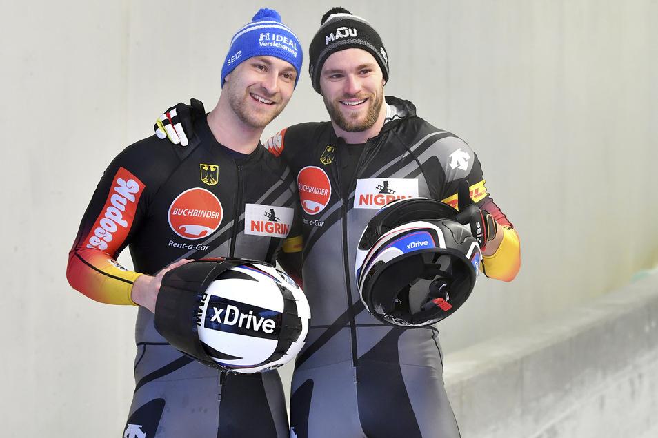 Richard Oelsner (links), hier mit Anschieber Tobias Schneider, kehrt mit zwei Medailen heim.
