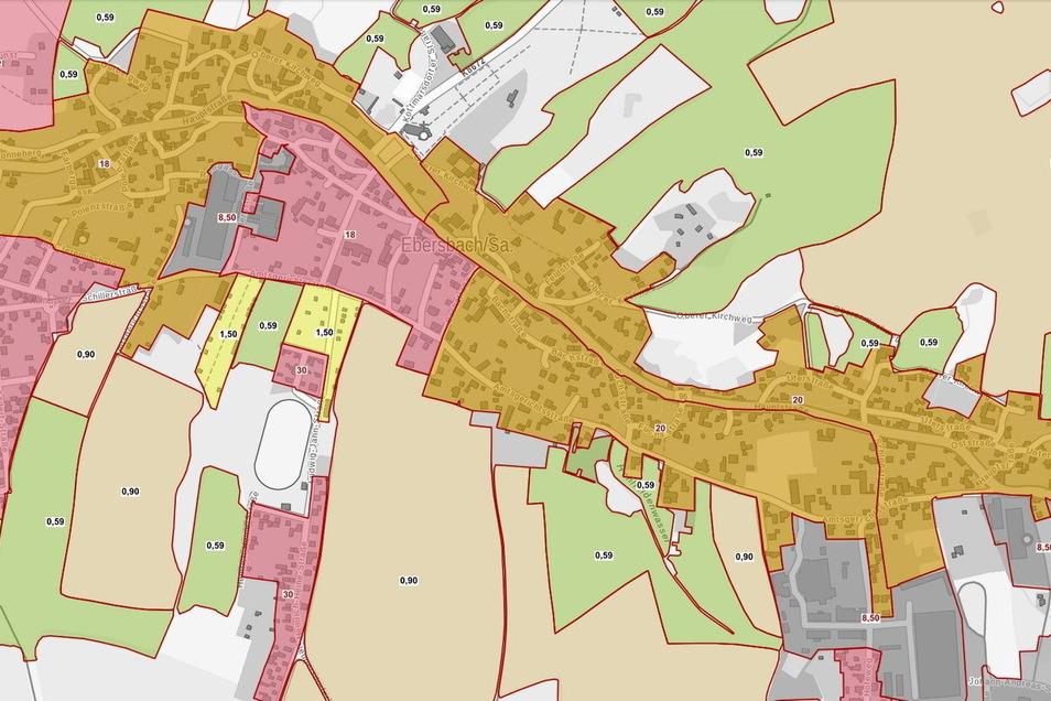 Die Bodenrichtwertkarte für Ebersbach-Neugersdorf.