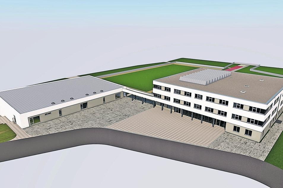 Ein quadratisches, zweistöckiges Gebäude – so soll die neue Oberschule in Ullendorf einmal aussehen. Sie soll durch einen überdachten Weg mit der Sporthalle, die in den Hang hineingebaut werden soll, verbunden sein. Ab dem Schuljahr 2020/21 sollen hier bi