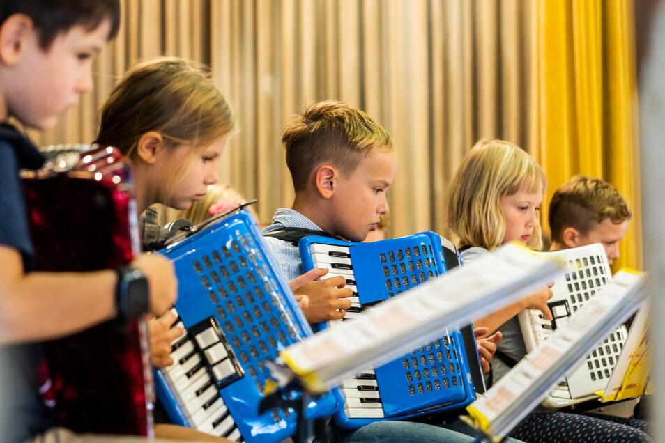 Das Akkordeonorchester der Musikschule Fröhlich musizierte bei der Festveranstaltung im Kulturhaus-Saal.
