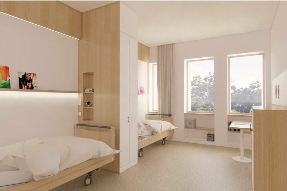 Größer und heller sollen die Patientenzimmer werden. Rund 70 werden in dem Neubau entstehen.
