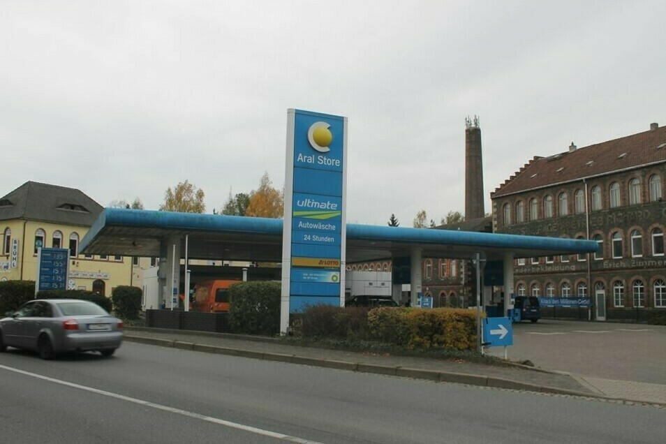 Der Tatort: Die Aral-Tankstelle in Zittau.