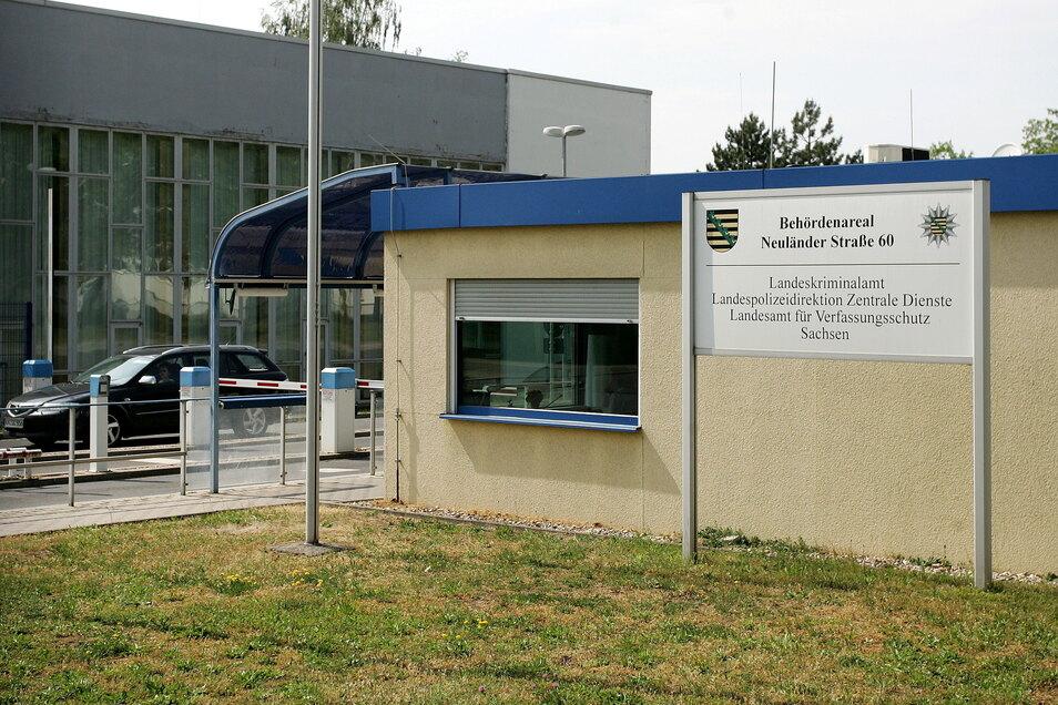 Blick auf den Sitz des Sächsischen Landesamts für Verfassungsschutz in Dresden.