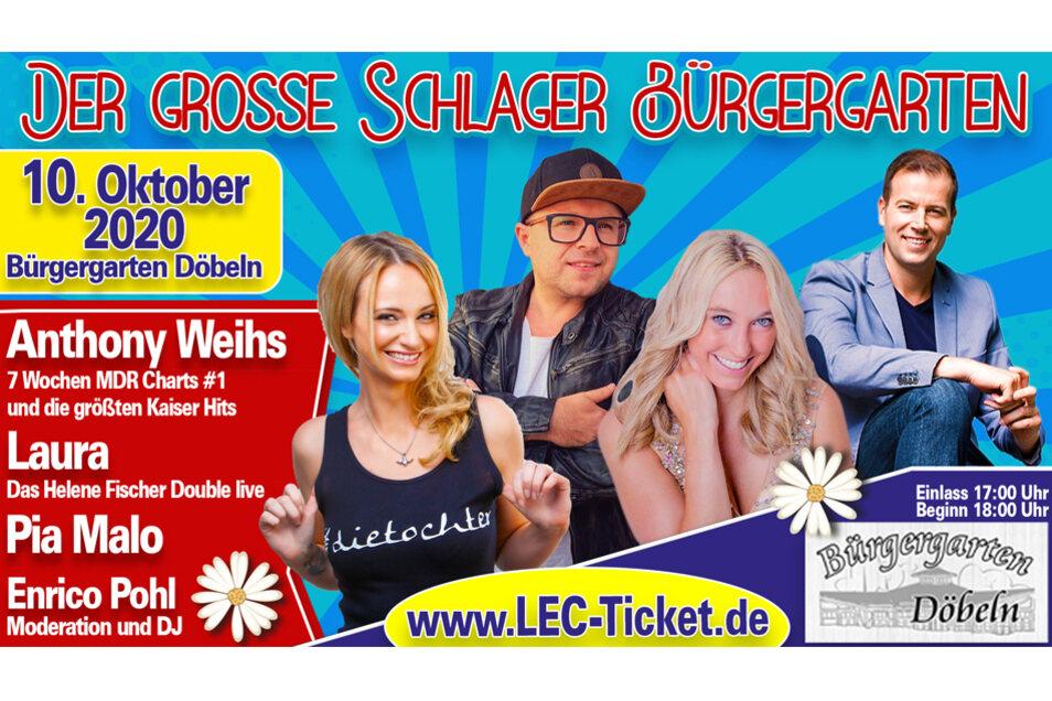 Schlagerstar Anthony Weihs, Helene Fischer Double Laura, Pia Malo und DJ Enrico Pohl live auf einer Bühne.