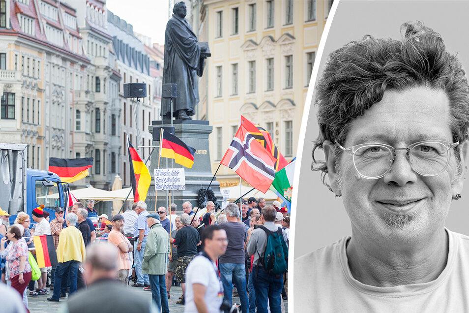 Dresdens Stadtschreiber Franzobel hat eine Theorie: Um Ruhe vor Touristenhorden zu haben, hat man in Dresden etwas Abschreckendes erfunden, so eine Art Kindergarten-Pest-und-Cholera – die Pegida.