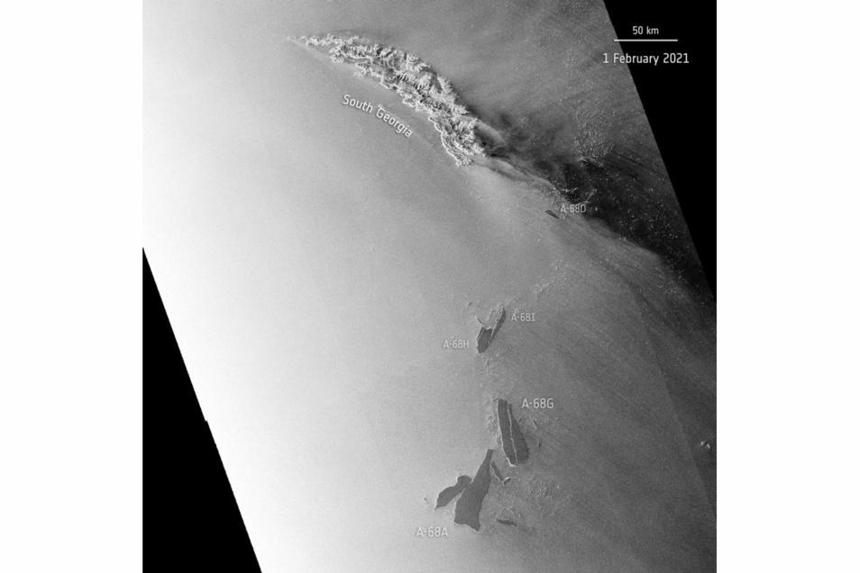 Die Satellitenaufnahme zeigt den Eisberg A-68A (unten) und andere Eisbrocken, die auf die Insel Südgeorgien zutreiben.