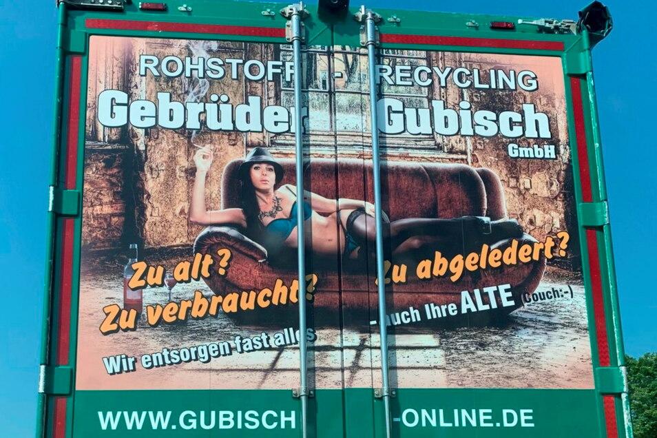 Mit diesem Motiv wirbt Gubisch auf einem seiner Fahrzeuge. Der Werberat findet das sexistisch.