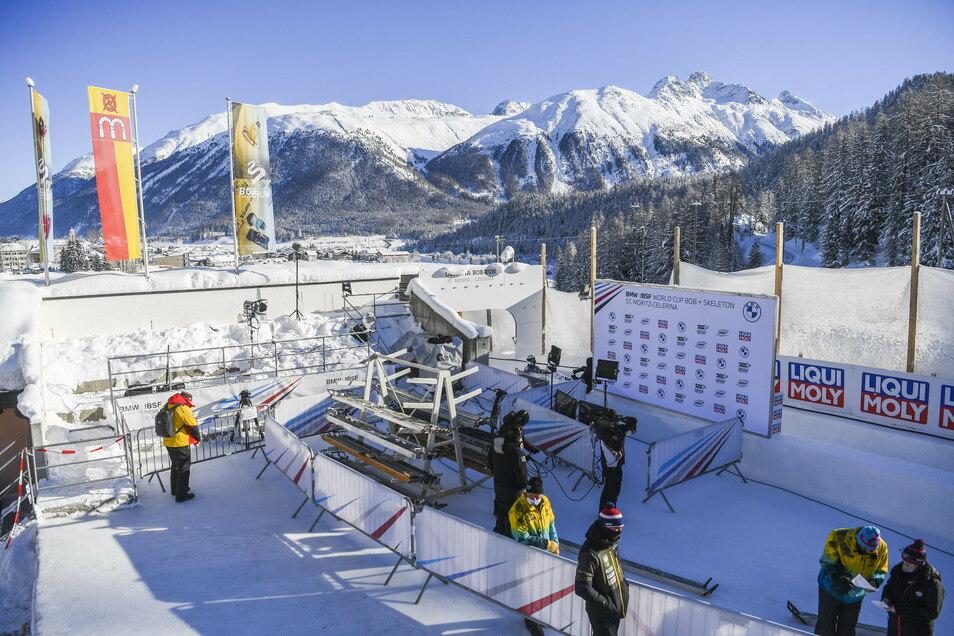Unscheinbar und doch traumhaft schön: Der Eiskanal von St. Moritz ist eine Natureisbahn vor fast schon malerischer Kulisse im Engadin.