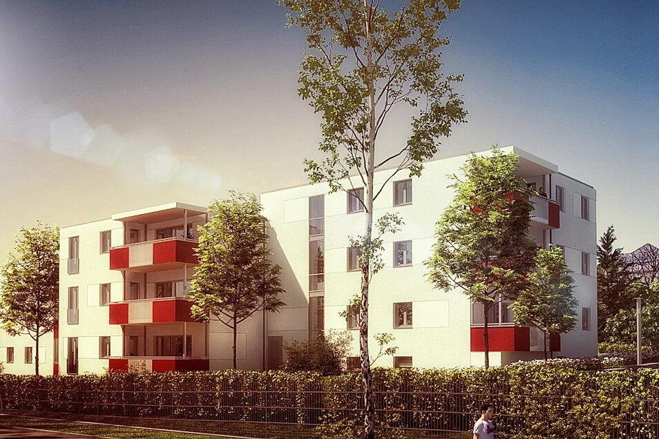 So sollen die neuen Häuser in der Flinzstraße aussehen: Einige Wohnungen haben einen Balkon nach Norden, die anderen Richtung Osten.