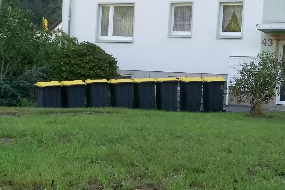Diese Tonnen wurden für ein Mehrfamilienhaus in Schlottwitz angeliefert. Viel zu viele, findet SZ-Leser Gerd Schwenke.