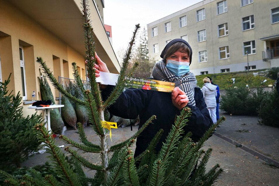 Daniela Kleeberg, Standortleiterin des Malteser Krankenhauses in Görlitz, zeigt eine der Nordmanntannen, die den Mitarbeitern geschenkt wurden. Auch die Kamenzer Beschäftigten erhielten Weihnachtsbäume.