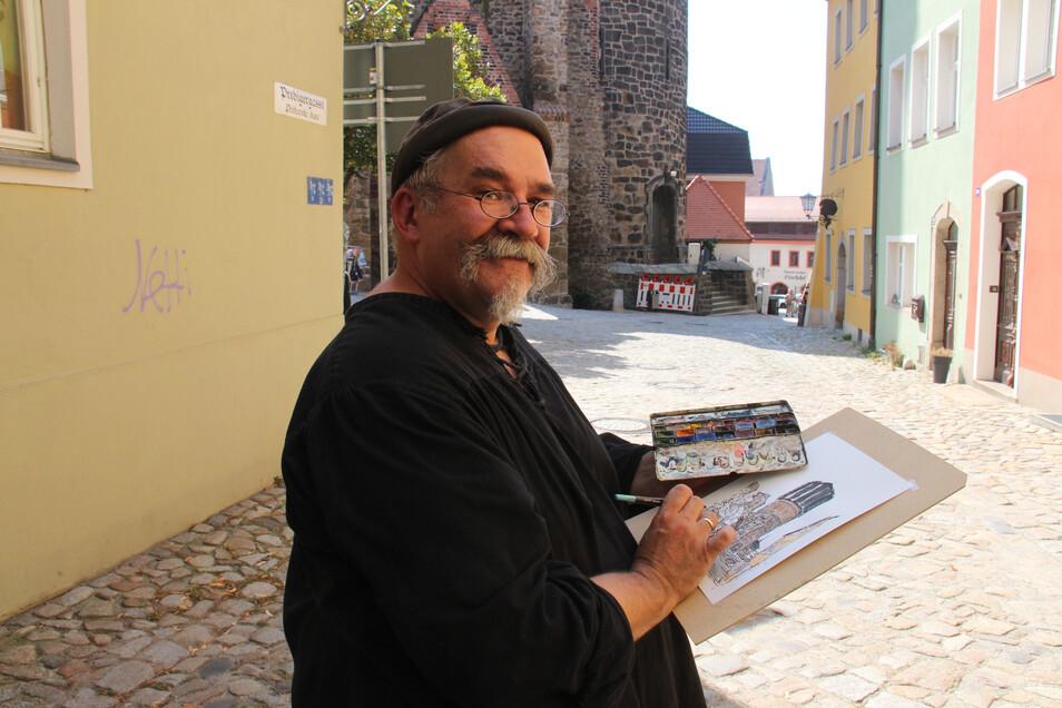 Zeichner Gottlieb Grinda an der Mönchskirche.