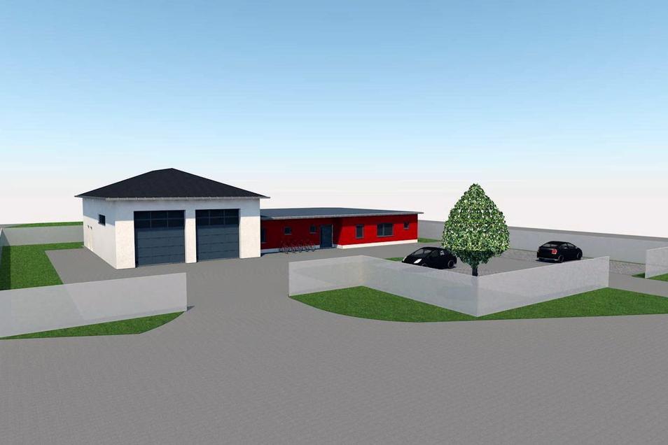 So soll das neue Gerätehaus in Großdrebnitz laut Entwurf aussehen.