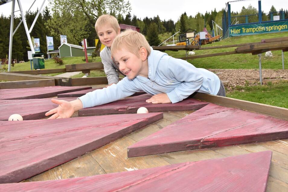 Sascha und Danny probieren die Murmelbahn aus. Die Anlage ist so beliebt, dass inzwischen eine zweite Hindernisstrecke errichtet wurde.