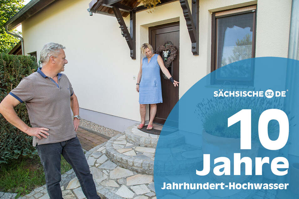 So hoch etwa stand vor zehn Jahren das Hochwasser auf dem Grundstück von Andrea und Dirk Haufe in Hagenwerder.