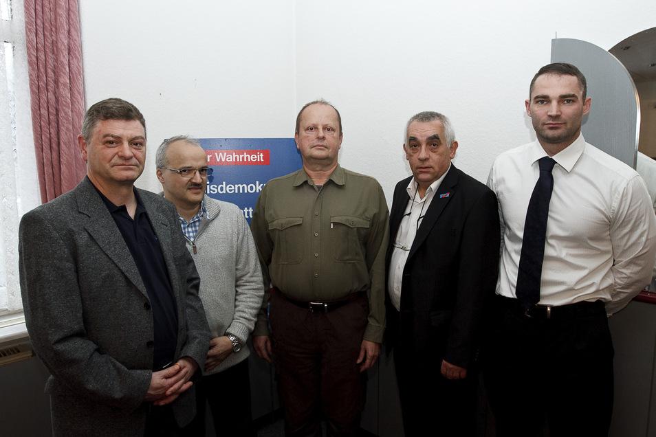Ein historisches Dokument: Der Gründungsvorstand des AfD-Kreisverbandes Görlitz 2013: Sebastian Wippel (rechts) gehörte dazu.