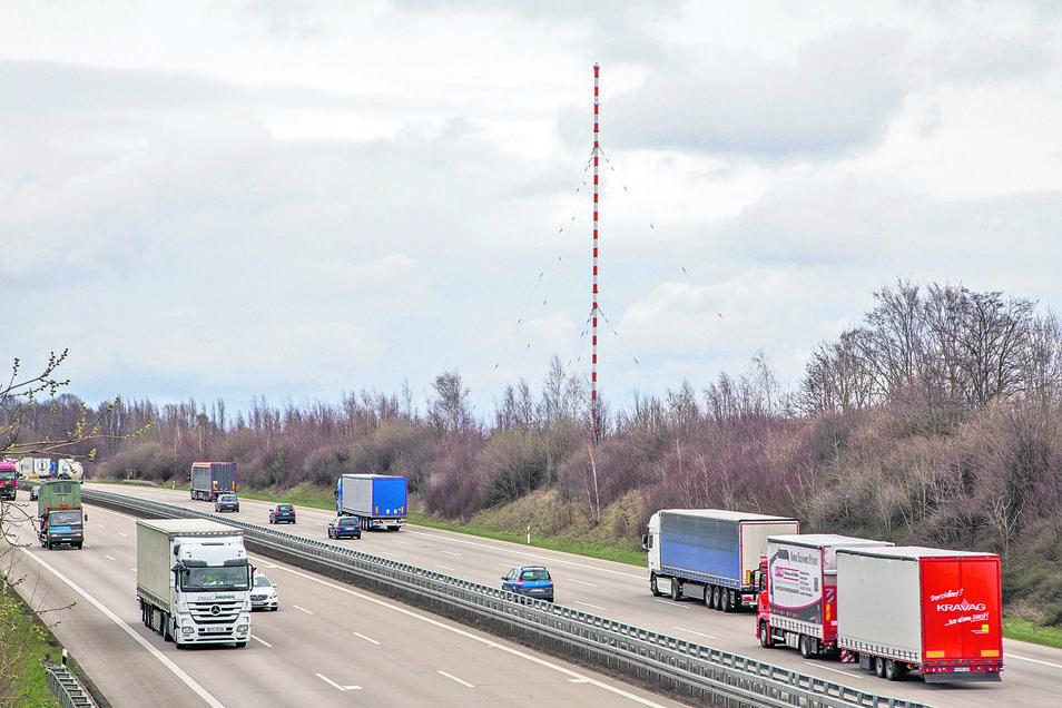 Früher Antenne, heute beliebte Landmarke: der Sender Wilsdruff an der A4.