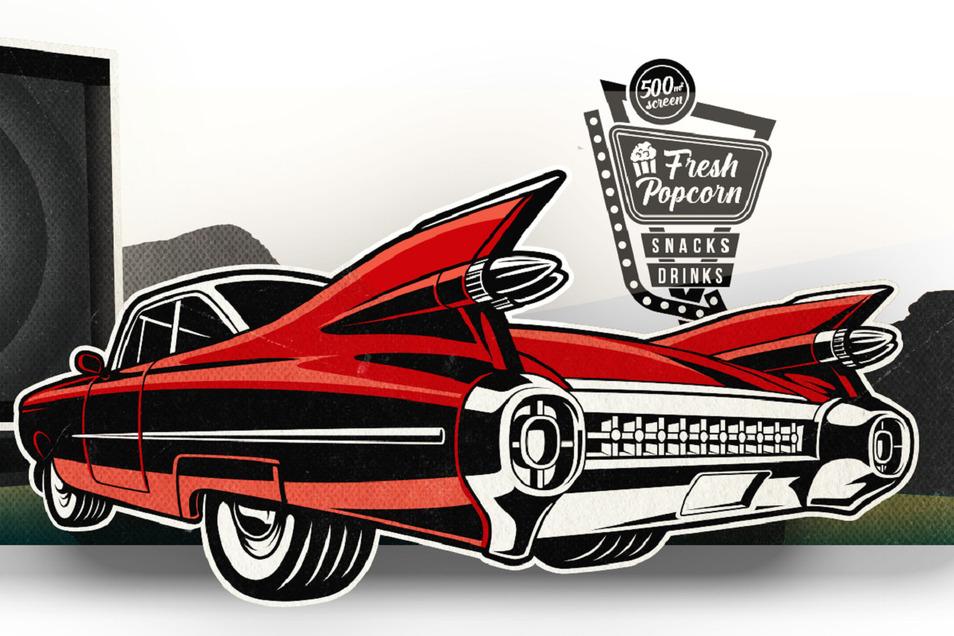 Das Autokino in der Dresdner Flutrinne folgt amerikanischen Vorbildern.
