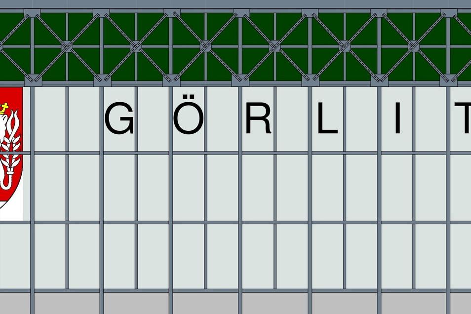 So sollen Schriftzug und Wappen neben Gleis 7 und Gleis 12 im Bahnhof Görlitz nach der Sanierung der Bahnsteighalle einmal aussehen.