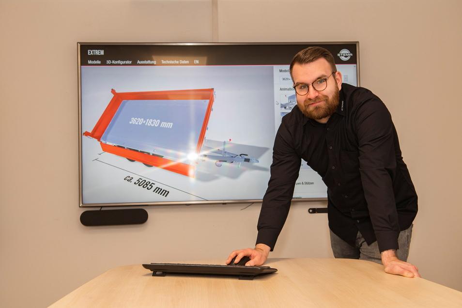 """Tobias Grafe gehört zu den """"Vätern"""" der neuen 3D-Präsentation der Anhängerwelt in der Großenhainer Stema. Das Unternehmen hat auch in der Corona-Zeit den Blick nach vorn nicht verloren."""