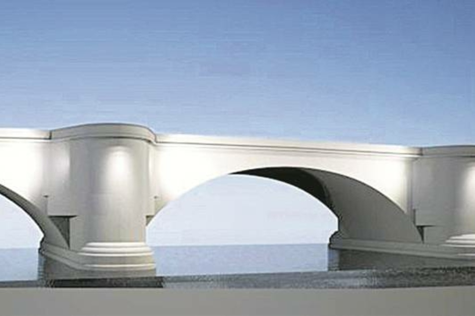 Mit dezentem LED-Licht soll die Augustusbrücke angestrahlt werden. Damit setzt die Stadt einen weiteren Teil des Lichtkonzeptes für die Innenstadt um.Ansicht: Stadtverwaltung