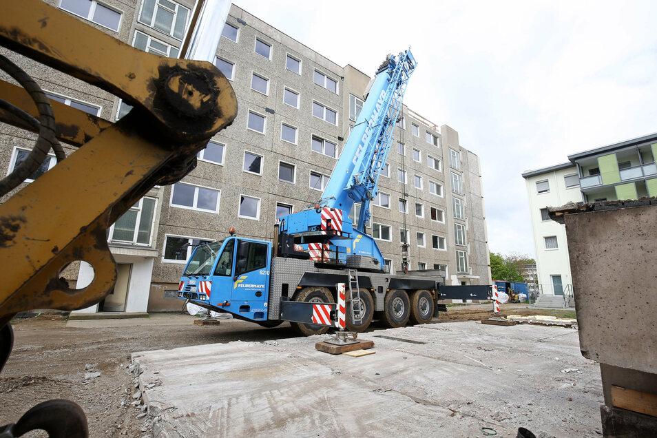 Der Wohnblock Karl-Marx-Ring 34-42 gehörte 2019 zu den größten Bauprojekten der Wohnungsgenossenschaft Riesa.