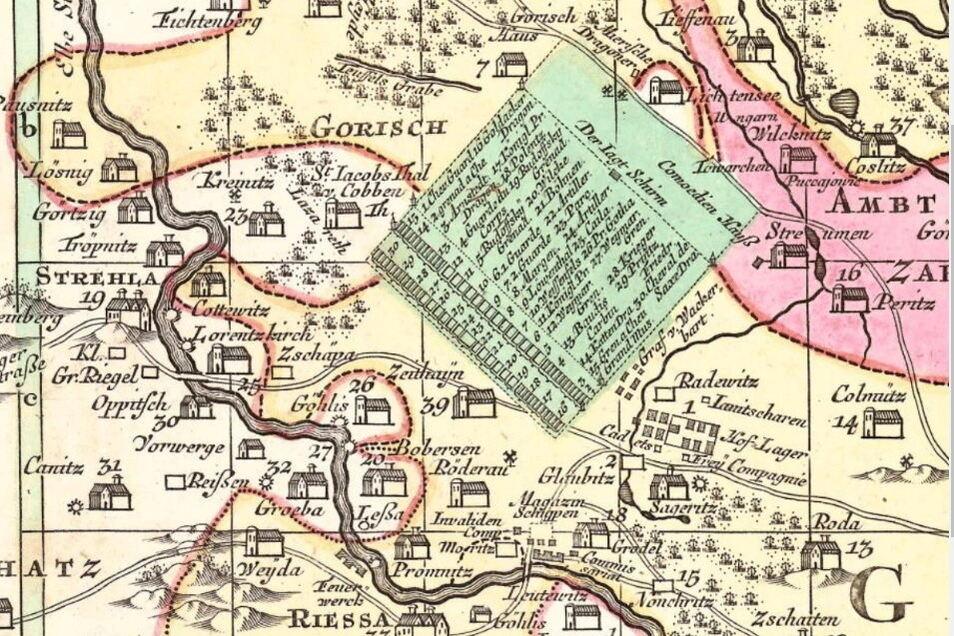 Das grüne Viereck markiert das Manövergelände, das als Zeithainer Lustlager bekannt ist. Am linken Rand ist das Zeltlager der sächsischen Regimenter zu sehen.