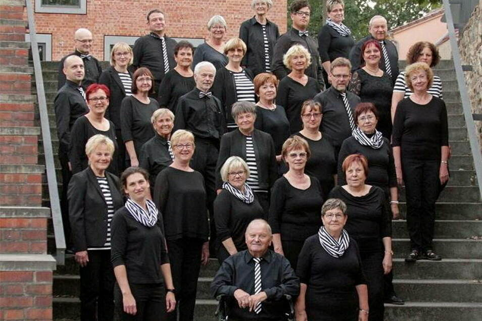 Die Singgemeinschaft an der Treppe des Großenhainer Kulturschlosses.