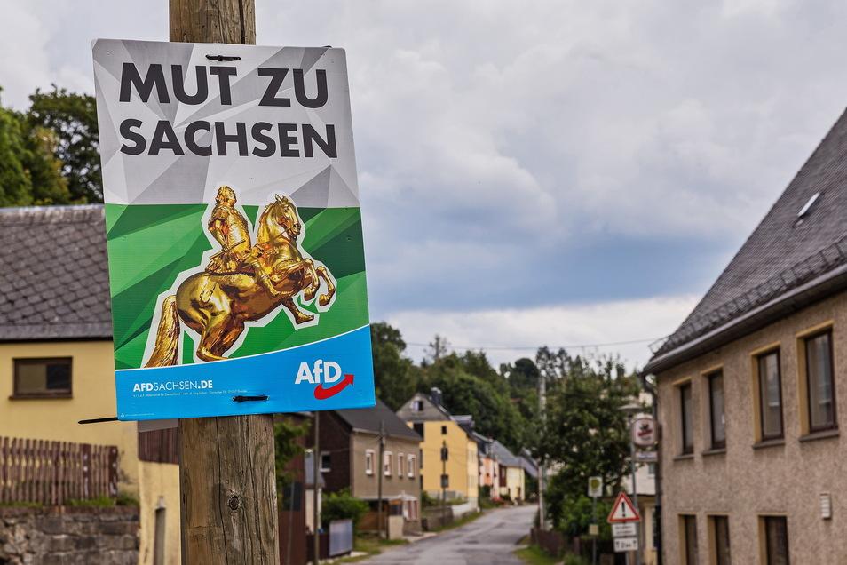 Wahlplakat der AfD in Dorfchemnitz für die Landtagswahl 2019.