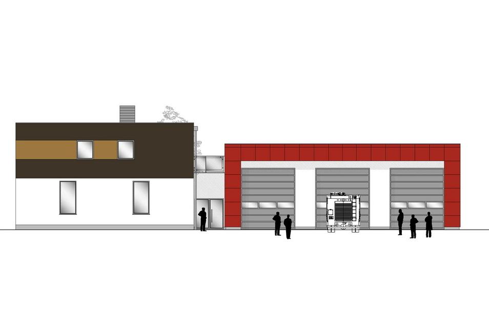 So soll das neue Feuerwehrgerätehaus in Königsbrück aussehen: Neben dem alten Gebäude wird ein neues errichtet.