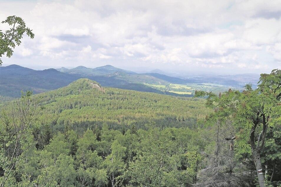 Blick in die Böhmische Schweiz und aufs Lausitzer Bergland – vom Wanderweg am Tannenberg (Jedlová) bei Jiøetín ist die Aussicht atemberaubend schön.