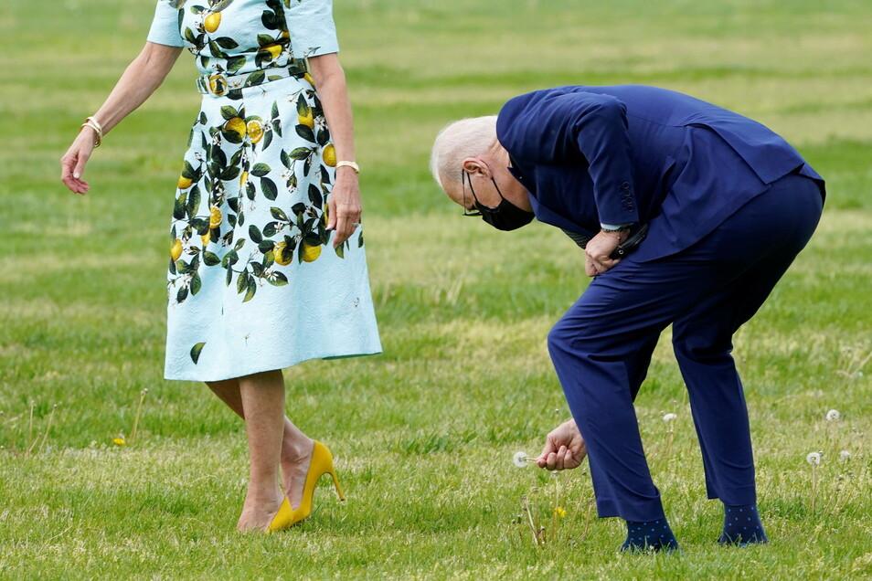 Joe Biden, Präsident der USA, pflückt eine Pusteblume für die First Lady Jill Biden.