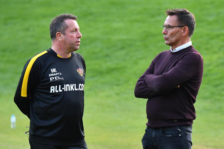 Trainer Markus Kauczinski (l.) wünscht sich ein juristisches Nachspiel, Geschäftsführer Michael Born kündigt das an.