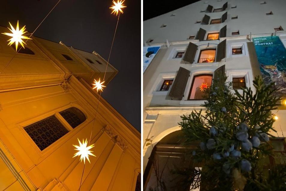 Und machte auch Bilder vom Sternenhimmel an der Johanniskirche und den Sternen in den Fenstern des Salzhauses.