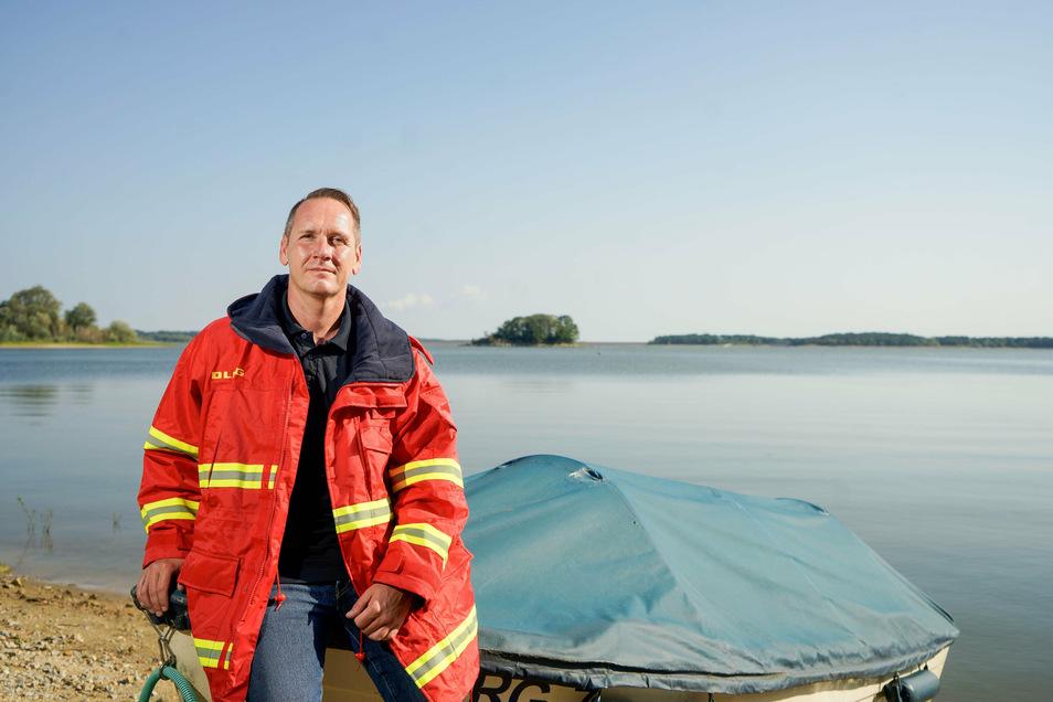 Robert Hänsel von der Deutschen Lebens-Rettungsgesellschaft DLRG Bautzen kennt die Olba gut, weil er dort viele Urlaube verbracht hat. Ein gefährliches Gewässer, weiß der Rettungsschwimmer.