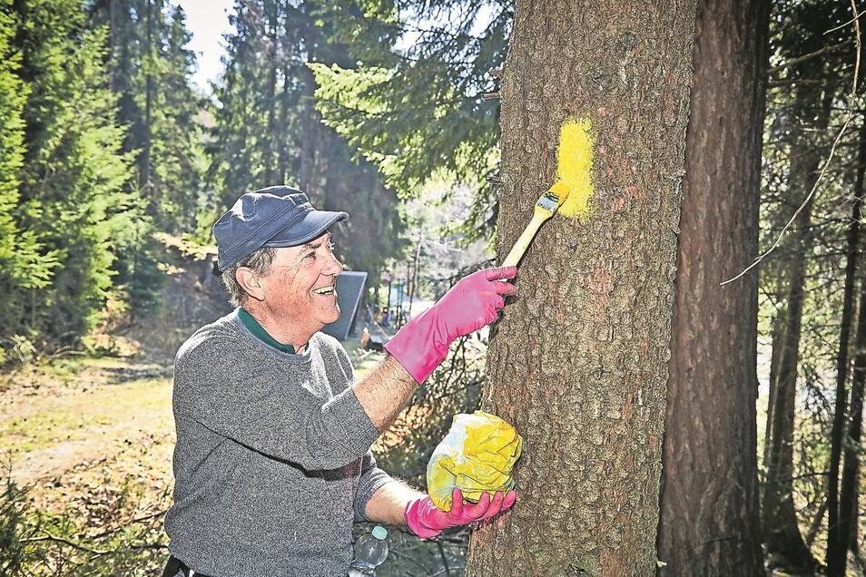 Kreiswegewart Peter Mildner erneuert vorm Saisonstart die gelbe Markierung des Forststeiges.